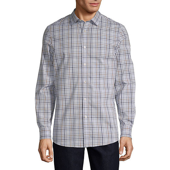 Axist Slim Mens Long Sleeve Checked Button-Front Shirt