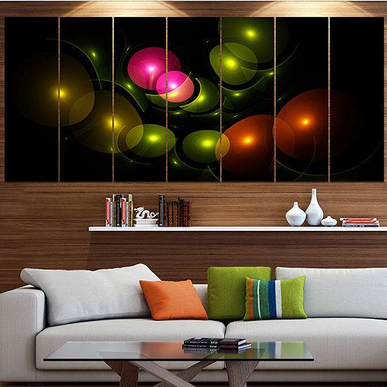 Designart Multi Color 3D Surreal Circles AbstractWall Art Canvas - 4 Panels