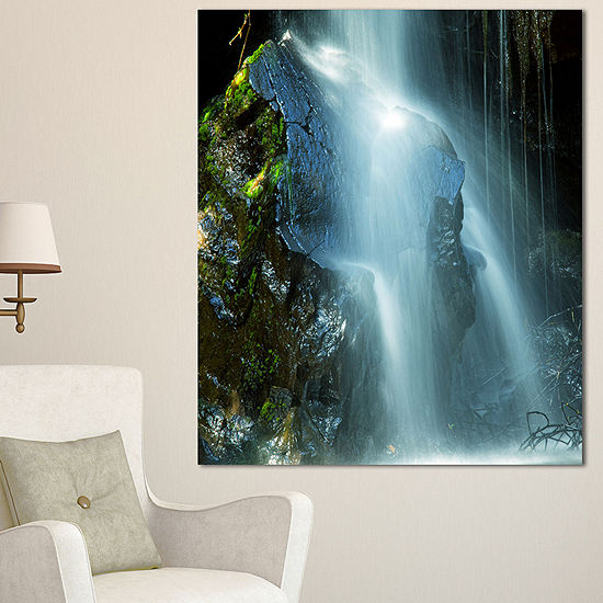 Designart Amazing White Water Cascade Landscape Canvas Art Print - 3 Panels