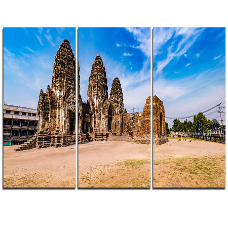 Designart Ancient Temple In Thailand Panorama Modern Seascape Triptych Canvas Artwork, One Size , Blue