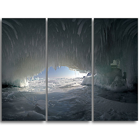 Designart Baikal Lake Ice Macro Universe LandscapeTriptych Canvas Art Print, One Size , Gray