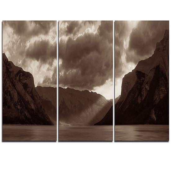 Designart Banff National Park Panoramic View Landscape Triptych Canvas Art Print