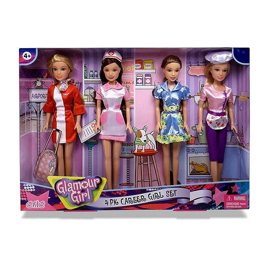 Glamour Girl 4 Pack Career Doll Set