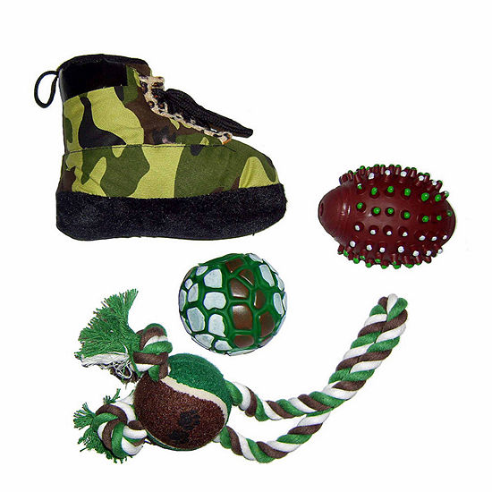 The Pet Life 4 Piece Hunter Camouflage Themed Pet Toy Set