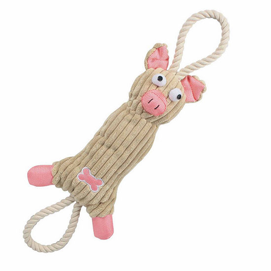 The Pet Life Jute And Rope Plush Pig - Pet Toy