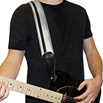 ChromaCast Speed Series Leather Racing Guitar Strap - Black and Silver