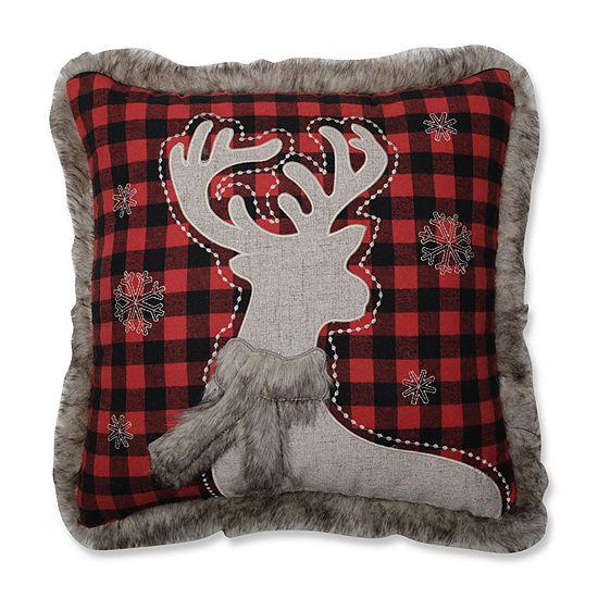Pillow Perfect Fur Reindeer 18X18 Square Throw Pillow