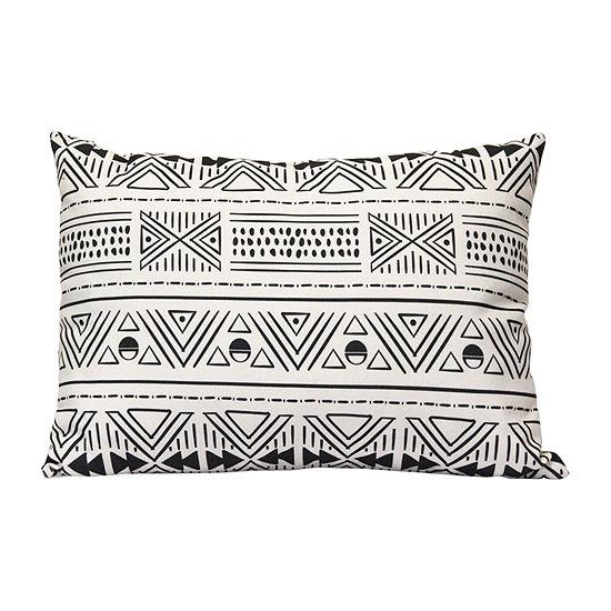 Stratton Home Decor Tribal Mudcloth Lumbar Square Throw Pillow