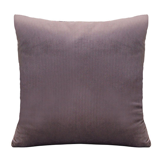Stratton Home Decor Mauve Textured Velvet Square Throw Pillow