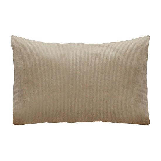 Stratton Home Decor Tan Lumbar Velvet Rectangular Throw Pillow