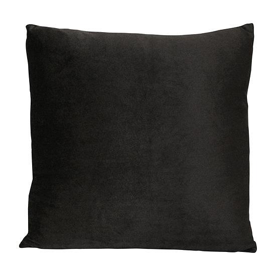 Stratton Home Decor Black Velvet Square Throw Pillow