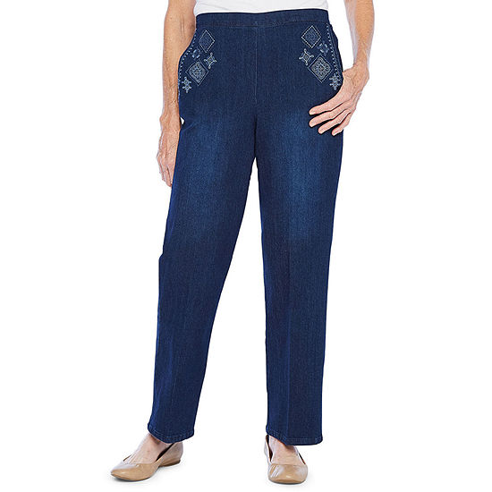 Alfred Dunner Womens Regular Fit Straight Trouser Jean
