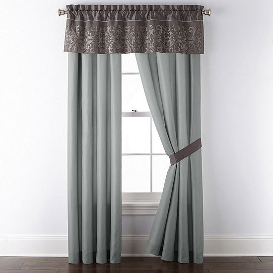 JCPenney Home Nicholai Embellished Rod-Pocket Single Curtain Panel
