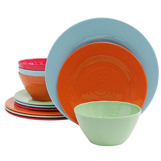 Brist 12 Pc Dinnerware Set - 4 Assorted Colors - Solid - Melamine - 2480 G