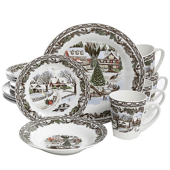 Gibson Home Christmas Toile 16-pc. Dinnerware Set