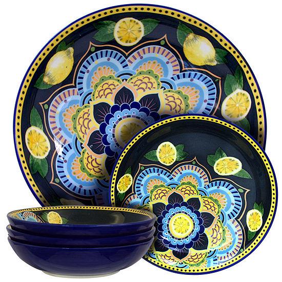 Elama Luna De Lemon 5 Piece Pasta Serving Bowl Set