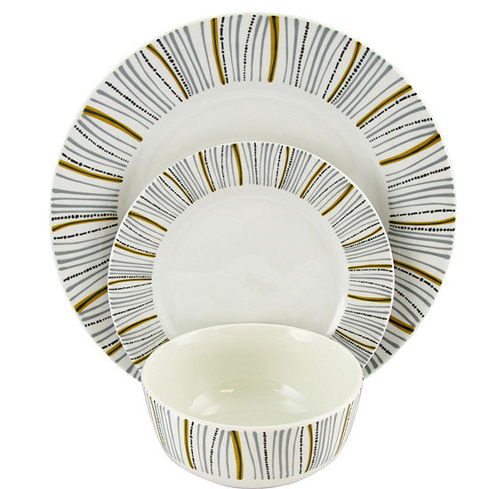 Gibson Home Classic Burst Decorated 12 Piece Dinnerware Set