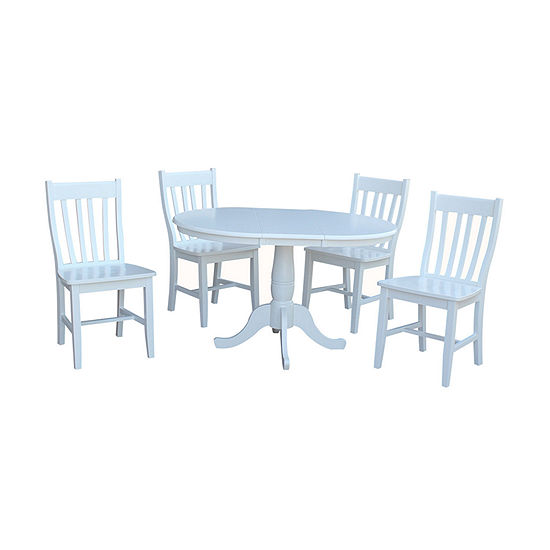 Round Extension Dining Table with 4 Cafe Chairs