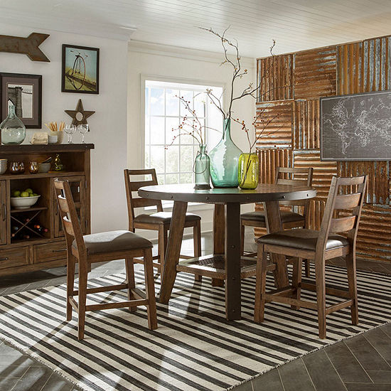 Taos 5-Pc Dining set with Round Table and Ladder Back Stools