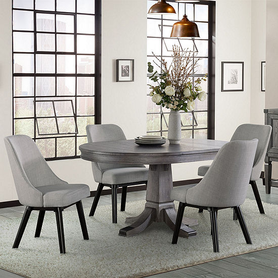 Foundry Round Table 5-Piece Dining Set with Upholstered Chairs
