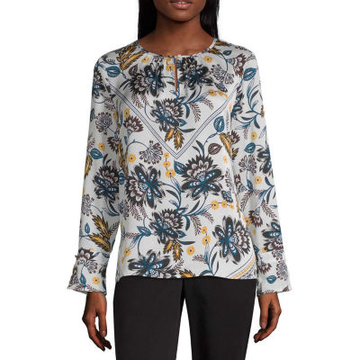 Liz Claiborne Womens Keyhole Neck Long Sleeve Blouse
