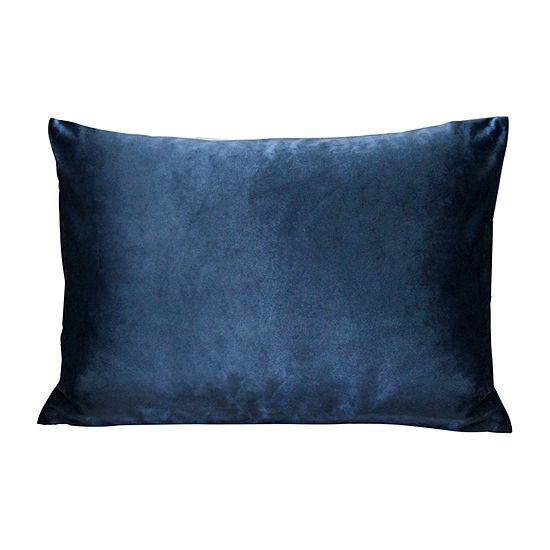 Stratton Home Decor Royal Blue Velvet Rectangular Throw Pillow