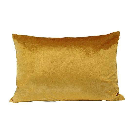 Stratton Home Decor Golden Velvet Rectangular Throw Pillow