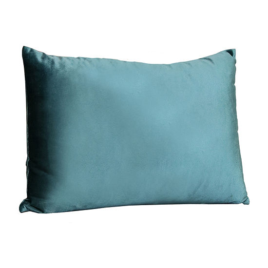Stratton Home Decor Teal Velvet Rectangular Throw Pillow