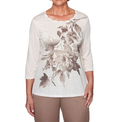 Alfred Dunner First Frost-Womens Crew Neck 3/4 Sleeve T-Shirt