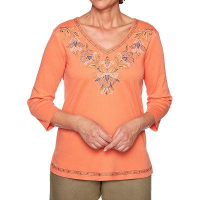 Alfred Dunner Lake Tahoe-Womens V Neck 3/4 Sleeve T-Shirt