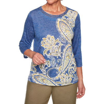 Alfred Dunner Lake Tahoe-Womens Crew Neck 3/4 Sleeve T-Shirt