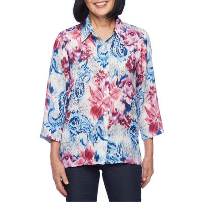 Alfred Dunner Classics Womens 3/4 Sleeve Blouse