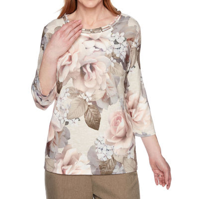 Alfred Dunner Boardroom-Womens Crew Neck 3/4 Sleeve T-Shirt
