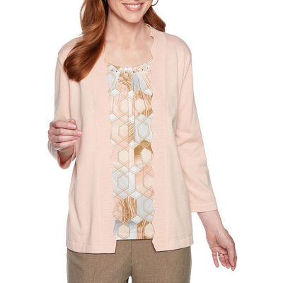 Alfred Dunner Boardroom Womens Crew Neck 3/4 Sleeve Layered Top