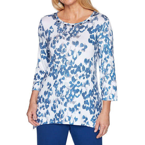 Alfred Dunner Sapphire Skies-Womens Round Neck 3/4 Sleeve T-Shirt