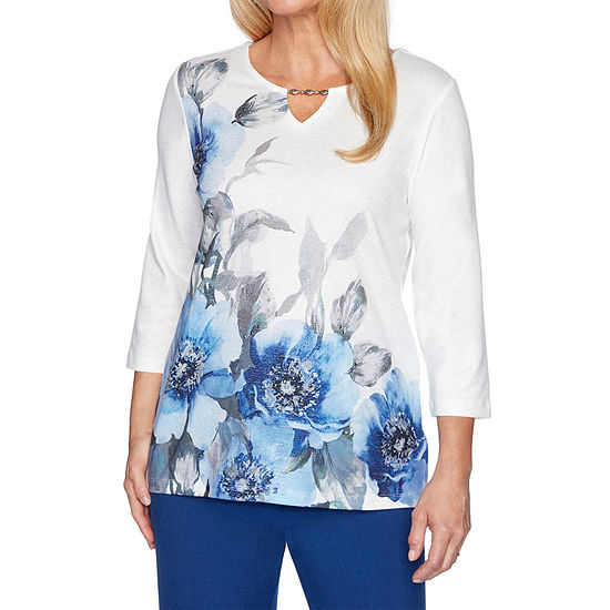 Alfred Dunner Sapphire Skies-Womens Keyhole Neck 3/4 Sleeve T-Shirt