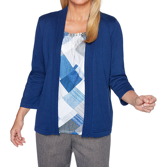 Alfred Dunner Sapphire Skies Womens Round Neck 3/4 Sleeve Layered Sweaters