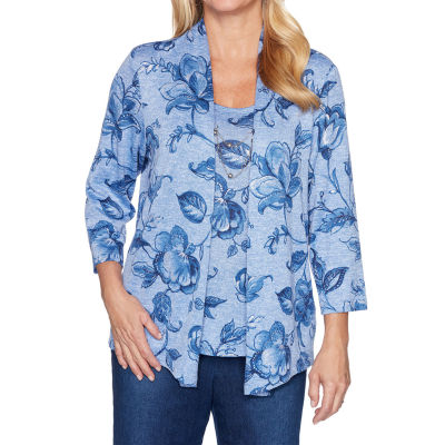 Alfred Dunner Autumn Harvest Womens Scoop Neck 3/4 Sleeve Layered Top