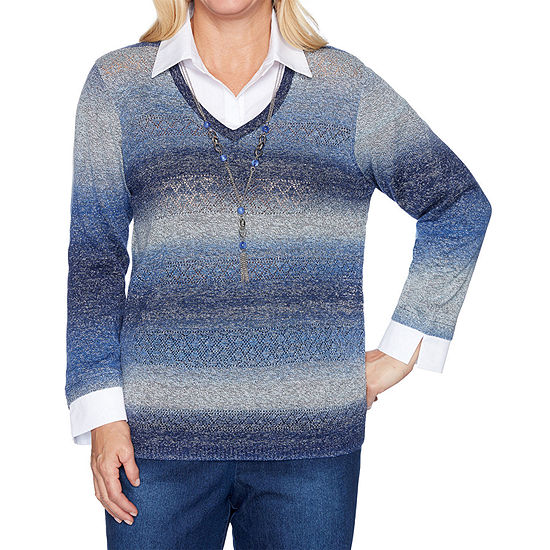 Alfred Dunner Autumn Harvest Womens Long Sleeve Ombre Layered Sweaters