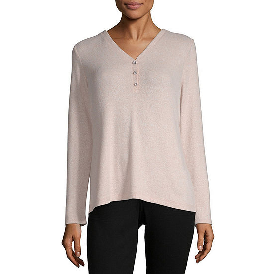 Liz Claiborne Womens V Neck Long Sleeve Henley Shirt