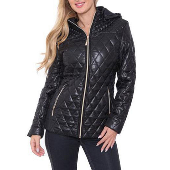 White Mark Hooded Midweight Puffer Jacket