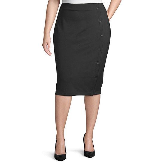 Bold Elements Womens Side Snap Scuba Pencil Skirt - Plus
