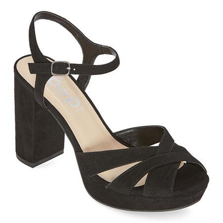 70s Shoes, Platforms, Boots, Heels | 1970s Shoes Pop Womens Garcelle Heeled Sandals 8 Medium Black $31.99 AT vintagedancer.com