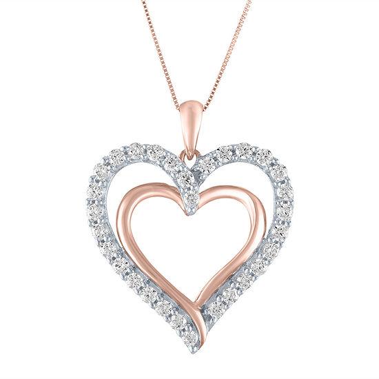 Womens 3/4 CT. T.W. Lab Grown Diamond 10K Rose Gold Heart Pendant Necklace