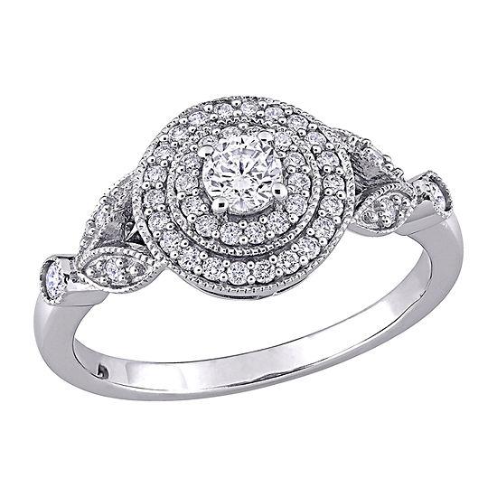 Womens 1/2 CT. T.W. Genuine White Diamond 14K White Gold Engagement Ring