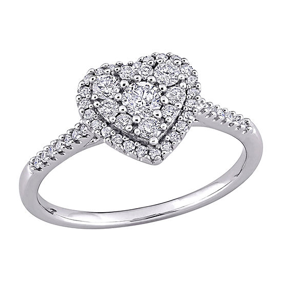 Womens 1/2 CT. T.W. Genuine White Diamond 10K White Gold Heart Engagement Ring
