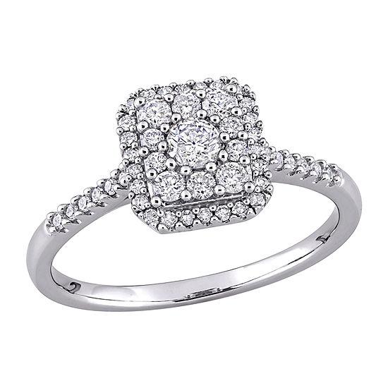 Womens 1/2 CT. T.W. Genuine White Diamond 10K White Gold Square Engagement Ring