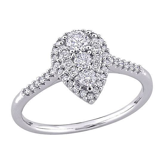 Womens 1/2 CT. T.W. Genuine White Diamond 10K White Gold Pear Engagement Ring