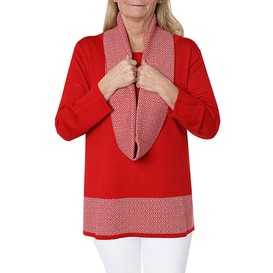 Cathy Daniels Cowl Up Womens Crew Neck Long Sleeve Layered Top