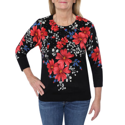 Cathy Daniels Printed Sweaters Womens Crew Neck 3/4 Sleeve Floral Pullover Sweater